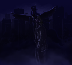 Size: 1396x1264 | Tagged: safe, artist:grayma1k, princess luna, alicorn, human, pony, city, cityscape, dark, duo, female, flying, male, mare, night