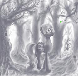 Size: 998x974 | Tagged: safe, artist:grayma1k, oc, oc only, oc:dreamcatcher (grayma1k), earth pony, pony, bag, forest, leaf, monochrome, neo noir, partial color, saddle bag, solo, tree