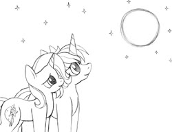Size: 1060x816   Tagged: safe, artist:blazelupine, trixie, oc, oc:pickles, pony, unicorn, duo, female, looking up, male, monochrome, moon, night, simple background, stars, traditional art, trikles, white background