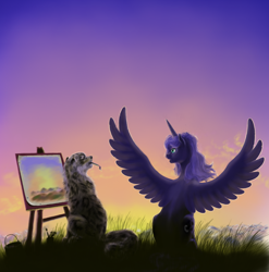 Size: 1024x1037 | Tagged: safe, artist:grayma1k, princess luna, oc, alicorn, big cat, leopard, pony, snow leopard, duo, easel, missing accessory, mouth hold, paintbrush, painting, sitting, spread wings, wings