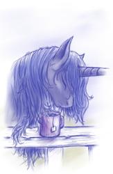 Size: 508x780 | Tagged: safe, artist:grayma1k, princess luna, alicorn, pony, eyes closed, food, messy mane, morning ponies, mug, sleepy, solo, tea, teabag