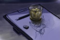 Size: 1053x707 | Tagged: safe, artist:grayma1k, princess luna, alicorn, pony, clipboard, drink, eraser, glass, ice cube, mechanical pencil, paper, pencil, sketch, still life