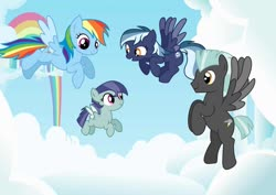 Size: 1280x906 | Tagged: safe, artist:tenderrain46, rainbow dash, thunderlane, oc, oc:cloud dancer, oc:snoc thunder, pegasus, pony, cloud, female, flying, gilly, male, mare, offspring, parent:rainbow dash, parent:soarin', parent:thunderlane, parents:soarindash, parents:thunderdash, shipping, straight, thunderdash