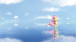 Size: 1600x900 | Tagged: safe, artist:qbellas, fluttershy, pegasus, beautiful, cloud, cloudy, eyes closed, ocean, reflection, sky, solo, water