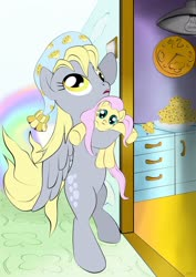 Size: 1024x1449 | Tagged: safe, artist:joycat, derpy hooves, fluttershy, pony, bipedal, clock, cute, food, kitchen, muffin, nightcap, plushie, weapons-grade cute