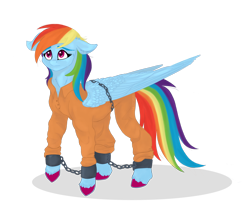 Size: 1920x1600 | Tagged: safe, artist:wikatoria71, rainbow dash, pegasus, pony, ankle chain, bound wings, chains, clothes, colored hooves, cuffs, female, jumpsuit, mare, never doubt rainbowdash69's involvement, prison outfit, prisoner, prisoner rd, sad, shackles, simple background, solo, transparent background, uniform, wings