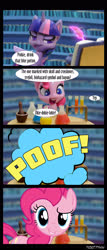 Size: 1288x3000 | Tagged: safe, edit, edited screencap, editor:teren rogriss, screencap, pinkie pie, twilight sparkle, alicorn, pony, my little pony: pony life, potion party, bookshelf, inkwell, potion, quill, table, transformation, twilight sparkle (alicorn), twilight's castle