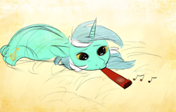 Size: 1640x1048 | Tagged: safe, artist:anonymous, artist:imsokyo, lyra heartstrings, pony, unicorn, /mlp/, 4chan, bed, colored, drawthread, kazoo, music notes, musical instrument, ponified, ponified animal photo, sad, solo