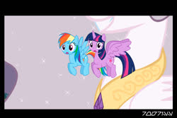 Size: 1288x858   Tagged: safe, edit, edited screencap, editor:teren rogriss, screencap, princess celestia, rainbow dash, twilight sparkle, alicorn, pegasus, pony, princess molestia, female, giant pony, giantess, giantlestia, macro, this will not end well, twilight sparkle (alicorn)