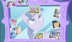 Size: 1615x941 | Tagged: safe, screencap, apple bloom, applejack, big macintosh, carrot cake, cup cake, discord, fluttershy, granny smith, mayor mare, moondancer, owlowiscious, pinkie pie, princess cadance, princess celestia, rainbow dash, rarity, scootaloo, snails, snips, spike, starlight glimmer, sweetie belle, twilight sparkle, zecora, alicorn, bird, draconequus, dragon, earth pony, owl, pegasus, pony, unicorn, zebra, celestial advice, bloodstone scepter, book, bound wings, cropped, female, filly, filly twilight sparkle, looking at each other, male, mare, mirror, picture, smiling, twilight sparkle (alicorn), wings, younger