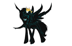 Size: 2800x1768 | Tagged: safe, artist:chazmazda, oc, oc only, alicorn, goo, pony, art, cartoon, commission, commissions open, crown, dark, digital art, fangs, fullbody, horn, jewelry, nightmare, regalia, simple background, solo, spread wings, tentacles, transparent background, wings