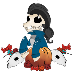 Size: 790x786 | Tagged: safe, artist:hunterthewastelander, oc, oc only, earth pony, pony, skeleton pony, black sclera, bone, bust, candy, clothes, food, male, pumpkin, simple background, skeleton, skull, solo, stallion, transparent background, ych result