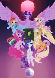 Size: 1280x1811   Tagged: safe, artist:hakkerman, applejack, fluttershy, pinkie pie, rainbow dash, rarity, twilight sparkle, alicorn, earth pony, pegasus, pony, unicorn, book of harmony, group shot, mane six, moon, signature, simple background, spread wings, sun, twilight sparkle (alicorn), wings
