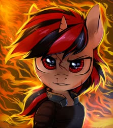 Size: 1920x2160   Tagged: safe, artist:tatykin, oc, oc only, oc:blackjack, pony, unicorn, fallout equestria, fallout equestria: project horizons, blood, fanfic art, female, fire, horn, looking at you, mare, scratches, shooty look, small horn, solo, two toned mane, vault security armor
