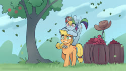Size: 3840x2162 | Tagged: safe, artist:icychamber, applejack, rainbow dash, pony, apple, applejack's hat, barrel, cowboy hat, food, grin, hat, implied appledash, implied lesbian, implied shipping, leaves, ponies riding ponies, riding, smiling, stick, tree, wild