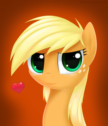 Size: 4000x4700   Tagged: safe, artist:redstoneengine, applejack, pony, absurd resolution, bust, cute, female, hatless, heart, jackabetes, looking at you, loose hair, mare, missing accessory, orange background, portrait, simple background, solo