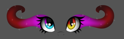 Size: 1189x380 | Tagged: safe, artist:chazmazda, oc, oc only, alicorn, pony, art, cartoon, commission, commissions open, digital art, eye, eyes, heterochromia, mismatched eyes, slit eyes, solo, sombra eyes