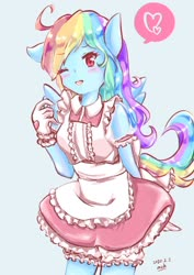Size: 1446x2048 | Tagged: safe, artist:moh_mlp2, rainbow dash, anthro, pegasus, blushing, clothes, cute, dashabetes, female, gloves, heart, maid, one eye closed, rainbow dash always dresses in style, solo, wink