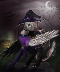 Size: 816x979 | Tagged: safe, artist:breadpande, oc, oc only, bat, clothes, commission, costume, halloween, halloween costume, hat, holiday, jack-o-lantern, moon, mouth hold, night, pumpkin, solo, tree, witch hat