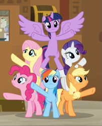 Size: 759x937 | Tagged: safe, screencap, applejack, fluttershy, pinkie pie, rainbow dash, rarity, twilight sparkle, alicorn, earth pony, pegasus, pony, unicorn, all bottled up, cropped, female, freckles, group, mane six, mare, pyramid, raised hoof, spread hooves, spread wings, twilight sparkle (alicorn), underhoof, wings