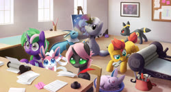 Size: 3400x1819 | Tagged: safe, artist:dawnfire, twilight sparkle, oc, oc:starscribe, alicorn, changeling, earth pony, espeon, mew, pony, rattata, sylveon, umbreon, unicorn, vaporeon, easel, eeveelution, hammer, inkwell, paper, pink changeling, pokémon, printing press, quill, scenery, twilight sparkle (alicorn), typewriter