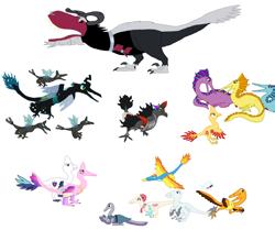 Size: 2689x2243 | Tagged: safe, artist:albertonykus, adagio dazzle, aria blaze, boulder (pet), cheese sandwich, coco pommel, king sombra, lord tirek, maud pie, princess cadance, queen chrysalis, seabreeze, shining armor, silver shill, sonata dusk, spitfire, sunset shimmer, breezie, changeling, dinosaur, maniraptor, siren, umbrum, dinosaurified, my little maniraptor, species swap