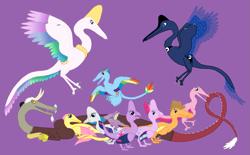 Size: 1923x1189 | Tagged: safe, artist:albertonykus, applejack, discord, fluttershy, pinkie pie, princess celestia, princess luna, rainbow dash, rarity, spike, starlight glimmer, twilight sparkle, dinosaur, maniraptor, dinosaurified, mane seven, mane six, my little maniraptor, purple background, simple background, species swap