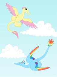 Size: 1125x1500 | Tagged: safe, artist:albertonykus, fluttershy, rainbow dash, dinosaur, maniraptor, dinosaurified, my little maniraptor, species swap