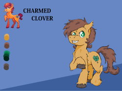 Size: 1414x1058   Tagged: safe, artist:lucas_gaxiola, oc, oc only, oc:charmed clover, earth pony, pony, clover, duo, earth pony oc, fluffy, four leaf clover, grin, male, mouth hold, reference sheet, smiling, stallion, unshorn fetlocks