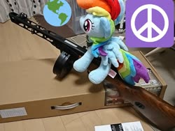 Size: 1440x1080 | Tagged: safe, artist:omegapony16, rainbow dash, pegasus, pony, airsoft, earth, female, globe, gun, irl, mare, peace symbol, photo, plushie, ppsh-41, solo, weapon