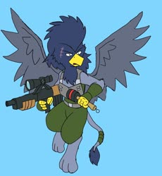 Size: 1888x2048   Tagged: safe, alternate version, artist:omegapony16, oc, oc only, griffon, armor, clothes, colored, flying, griffon oc, gun, scar, soldier, solo, vest, weapon