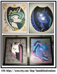 Size: 2551x3300 | Tagged: safe, artist:samoht-lion, princess celestia, princess luna, alicorn, pony, 80s princess luna, alternate hairstyle, choker, craft, female, frown, hairband, irl, jewelry, mare, papercraft, peytral, photo, punklestia, smiling, spiked choker, text, tiara, traditional art