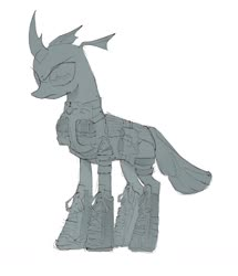 Size: 1259x1462 | Tagged: safe, artist:draw3, changeling, /mlp/, 4chan, armor, boots, clothes, combat armor, drawthread, harness, monochrome, pouch, pouches, shoes, solo, tack