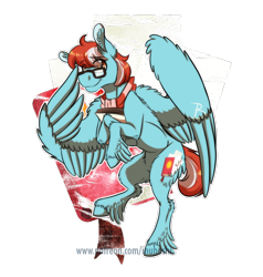 Size: 900x944 | Tagged: safe, artist:inuhoshi-to-darkpen, oc, oc only, oc:scribble notes, pegasus, pony, abstract background, clothes, feathered fetlocks, fluffy, glasses, lightly watermarked, looking at you, male, patreon, scarf, simple background, solo, spread wings, stallion, transparent background, watermark, wings