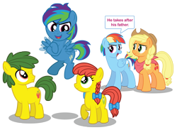 Size: 3000x2198 | Tagged: safe, artist:aleximusprime, applejack, rainbow dash, oc, oc:annie smith, oc:apple chip, oc:storm streak, flurry heart's story, colt, cute, daughter, female, filly, flapping wings, group, kids, male, male and female, mothers, offspring, older, older applejack, older rainbow dash, parent:applejack, parent:oc:thunderhead, parent:rainbow dash, parent:tex, parents:canon x oc, parents:texjack, short mane, simple background, son, speech bubble, transparent background, wings