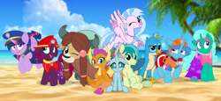 Size: 2340x1080   Tagged: safe, artist:rainbow eevee, artist:徐詩珮, fizzlepop berrytwist, gallus, glitter drops, ocellus, sandbar, silverstream, smolder, spring rain, tempest shadow, twilight sparkle, yona, alicorn, changedling, changeling, dragon, earth pony, griffon, hippogriff, unicorn, yak, series:sprglitemplight diary, series:sprglitemplight life jacket days, series:springshadowdrops diary, series:springshadowdrops life jacket days, alternate universe, beach, bisexual, broken horn, clothes, cute, dragoness, equestria girls outfit, female, glitterbetes, glitterlight, glittershadow, horn, lesbian, lifeguard, lifeguard spring rain, male, mare, one eye closed, paw patrol, polyamory, shipping, smiling, smiling at you, sprglitemplight, springbetes, springdrops, springlight, springshadow, springshadowdrops, stallion, student six, swimsuit, tempestbetes, tempestlight, twilight sparkle (alicorn), wink