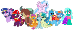 Size: 2340x961   Tagged: safe, artist:rainbow eevee, artist:徐詩珮, fizzlepop berrytwist, gallus, glitter drops, ocellus, sandbar, silverstream, smolder, spring rain, tempest shadow, twilight sparkle, yona, alicorn, changedling, changeling, dragon, earth pony, griffon, hippogriff, pony, unicorn, series:sprglitemplight diary, series:sprglitemplight life jacket days, series:springshadowdrops diary, series:springshadowdrops life jacket days, alternate universe, bisexual, broken horn, clothes, cute, dragoness, equestria girls outfit, female, glitterbetes, glitterlight, glittershadow, horn, lesbian, lifeguard spring rain, looking at you, male, mare, one eye closed, paw patrol, polyamory, shipping, simple background, sprglitemplight, springbetes, springdrops, springlight, springshadow, springshadowdrops, stallion, student six, tempestbetes, tempestlight, transparent background, twilight sparkle (alicorn), vector, wink