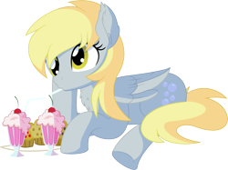 Size: 7443x5555 | Tagged: safe, artist:cyanlightning, derpy hooves, pegasus, pony, .svg available, absurd resolution, chest fluff, ear fluff, female, folded wings, food, mare, milkshake, muffin, simple background, sitting, solo, that pony sure does love muffins, transparent background, vector, wings