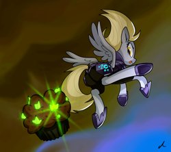 Size: 3000x2661 | Tagged: safe, artist:docwario, derpy hooves, pegasus, pony, my little pony: the movie, armor, digital art, female, food, kicking, muffin, obsidian orb, solo