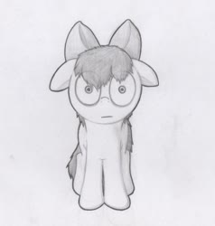 Size: 687x721 | Tagged: safe, artist:dashinthedark, apple bloom, earth pony, pony, :|, creepy, female, filly, floppy ears, grayscale, looking at you, monochrome, shrunken pupils, solo, staring into your soul, traditional art