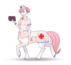 Size: 640x581 | Tagged: safe, artist:28gooddays, nurse redheart, anthro, centaur, earth pony, anthro centaur, clothes, female, hair bun, hat, looking at you, mare, notepad, nurse, nurse hat, ponytaur, simple background, uniform, white background