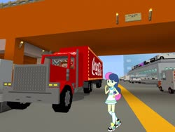 Size: 2048x1536 | Tagged: safe, artist:razethebeast, edit, editor:topsangtheman, bon bon, sweetie drops, equestria girls, bridge, car, coca-cola, game screencap, looking at you, minecraft, truck