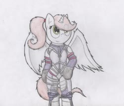 Size: 949x808 | Tagged: safe, artist:dashinthedark, oc, oc only, oc:bianimals, alicorn, anthro, alicorn oc, arm hooves, clothes, costume, female, looking up, nina williams, ponytail, smiling, solo, spread wings, tekken, traditional art, wings