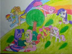 Size: 2060x1560 | Tagged: safe, artist:moonsetter, apple bloom, applejack, fluttershy, pinkie pie, rainbow dash, rarity, scootaloo, sweetie belle, twilight sparkle, alicorn, earth pony, pegasus, pony, unicorn, lil-miss rarity, apple, appledash, basket, blue sky, book, bush, carrot, clothes, cosplay, costume, cutie mark crusaders, female, flower, flying, food, grass, lesbian, mane six, picnic, picnic basket, picnic blanket, pinkamena diane pie, rainbow, raripie, reading, sandwich, shipping, strawberry, traditional art, tree, twilight sparkle (alicorn), twishy