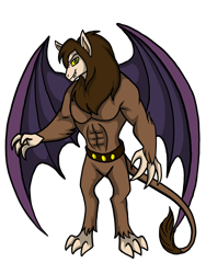 Size: 1536x2048 | Tagged: safe, artist:melspyrose, scorpan, gargoyle, abs, belt, claws, looking at you, muscular male, no pony, pecs, tail, teeth, wings