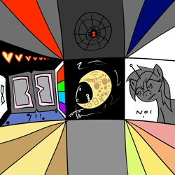 Size: 1500x1500 | Tagged: safe, artist:poniidesu, black widow, human, pony, robot, robot pony, spider, unicorn, chinese, domino, english, infinity, japanese, mare in the moon, moon, npc, space, stick figure