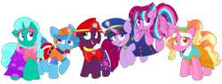 Size: 2164x821 | Tagged: safe, artist:rainbow eevee edits, artist:徐詩珮, fizzlepop berrytwist, glitter drops, luster dawn, spring rain, tempest shadow, twilight sparkle, oc, oc:bubble sparkle, alicorn, unicorn, series:sprglitemplight diary, series:sprglitemplight life jacket days, series:springshadowdrops diary, series:springshadowdrops life jacket days, alicorn oc, alternate universe, bisexual, broken horn, clothes, cute, equestria girls outfit, family, female, glitterbetes, glitterlight, glittershadow, horn, lesbian, lifeguard spring rain, magical lesbian spawn, magical threesome spawn, mother and child, mother and daughter, multiple parents, next generation, offspring, parent:glitter drops, parent:spring rain, parent:tempest shadow, parent:twilight sparkle, parents:glittershadow, parents:sprglitemplight, parents:springdrops, parents:springshadow, parents:springshadowdrops, paw patrol, polyamory, shipping, sprglitemplight, springbetes, springdrops, springlight, springshadow, springshadowdrops, tempestbetes, tempestlight, twilight sparkle (alicorn)
