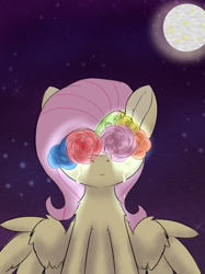 Size: 2125x2834 | Tagged: safe, artist:jubyskylines, fluttershy, pegasus, pony, crying, female, floral head wreath, flower, full moon, mare, moon, night, solo, spread wings, stars, wings