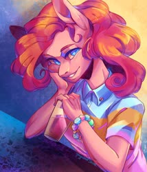 Size: 1280x1494 | Tagged: safe, artist:yuyusunshine, pinkie pie, anthro, clothes, glass, shirt, solo