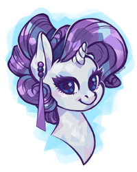 Size: 4169x5212 | Tagged: safe, artist:taytinabelle, rarity, crystal pony, pony, unicorn, alternate hairstyle, bust, crystallized, curly hair, cute, digital art, ear piercing, earring, female, hair bun, jewelry, looking at you, mare, piercing, simple background, smiling, solo, white background